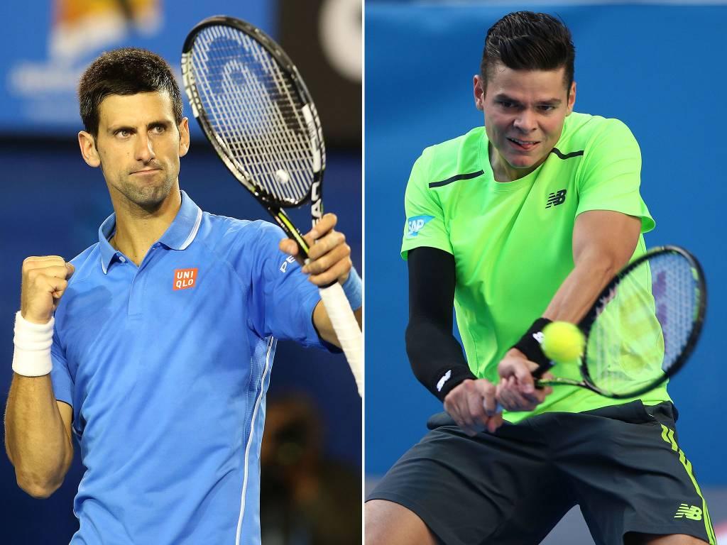 Djokovic wint overtuigend, Raonic bereikt halve finale