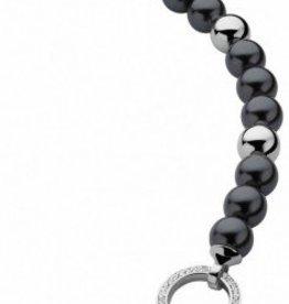 zinzi Zinzi armband zwarte parel met zilveren kraaltjes