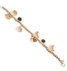 Bronzallure Bronzallure rose gouden armband blaadjes en onyx