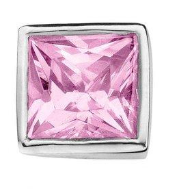 Enchanted Jewels enchanted jewels bedel zilver met licht roze zirkonia vierkant