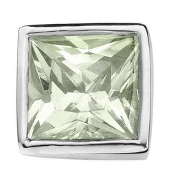 Enchanted Jewels enchanted jewels bedel zilver met lichtgroen zirkonia vierkant