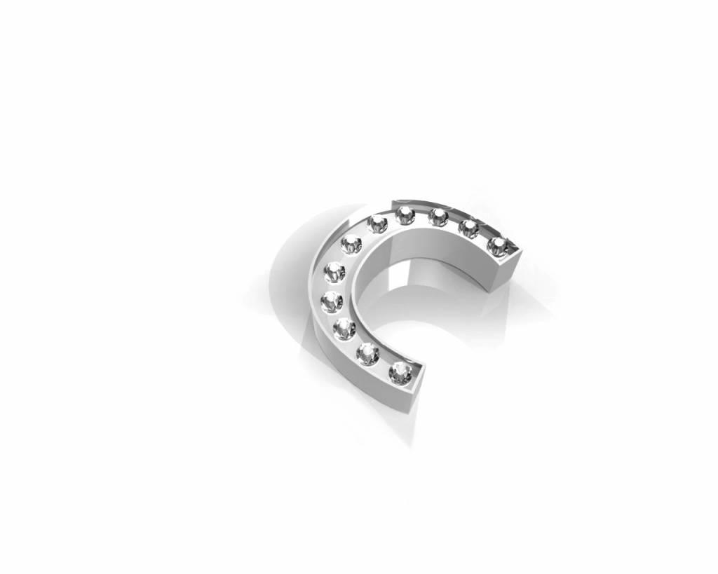 Key Moments Key Moments zilveren letter C met swarovski