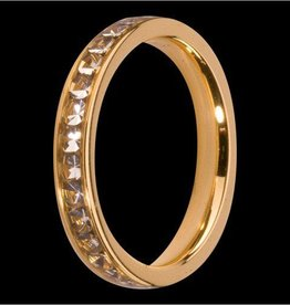 MelanO Colours Melano aanschuifring goud met witte zirkonia