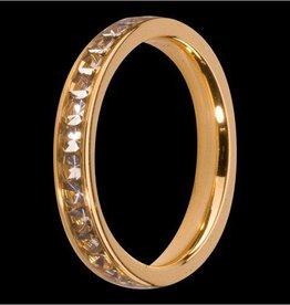 Melano Melano aanschuifring goud met witte zirkonia