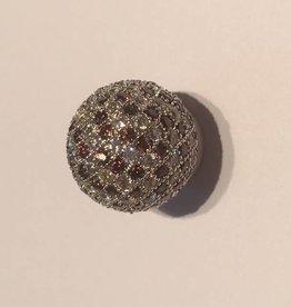 Sparkling Jewels Sparkling Jewels bal pave zilver bruin 14mm