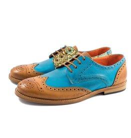 Liebre Style Shoes Blue Gold Mongolia nahkakenkä