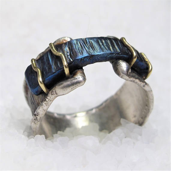 Diego Cognolato. Rustic Ring. Hand made. Silver , Gold, Blue Titanium. Size 20mm.