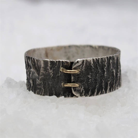 Diego Cognolato. Rustic Ring. Hand made. Silver and Gold. Size 20mm.