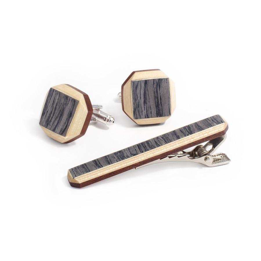 Bug Wooden Tweed kalvosinnapit ja solmioneula