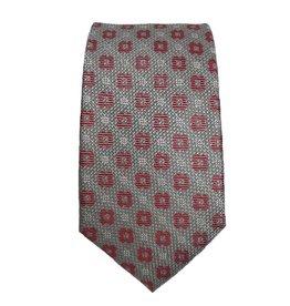Piero Gianchi harmaa solmio punaisilla yksityiskohdilla