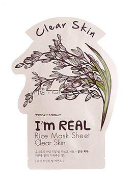 TONY MOLY I'm Real Rice Mask Sheet Clear Skin (Tuchmaske mit Reis-Extrakt)