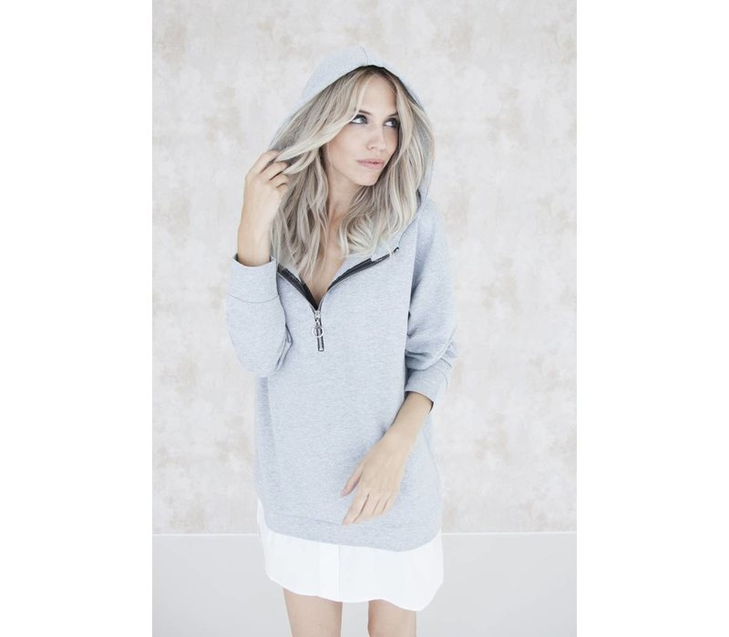 THE LONG HOODIE GREY - SWEATER