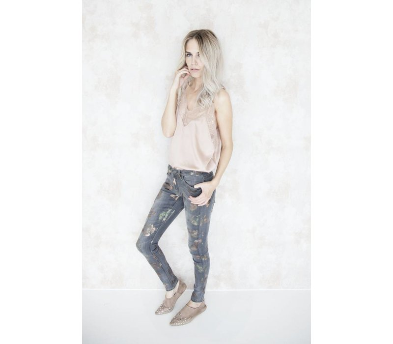 THE FLOWERED GREY - JEANS