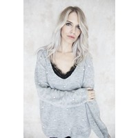 KNITS & PEARLS SOFT GREY - SWEATER