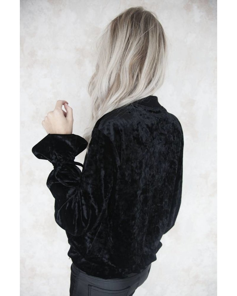 VELVET BOMBER BLACK - JACKET