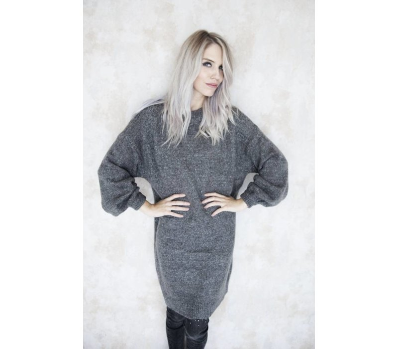 LONG CATHY GREY - SWEATER DRESS