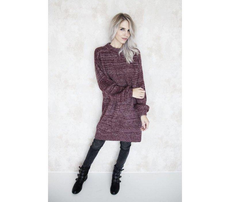 LONG CATHY BURGUNDY - SWEATER DRESS