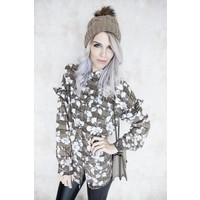 WINTER TIME FLOWER CREME - BLOUSE