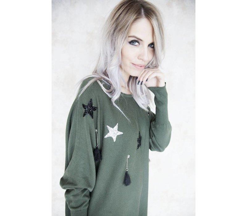 FESTIVE STAR GREEN - SWEATER