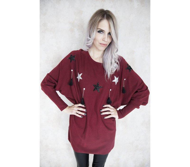 FESTIVE STAR RED - SWEATER
