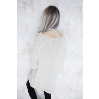 LONG KNITTED CREME - SWEATER