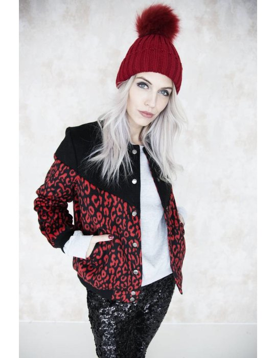 BOMBER LEOPARD RED