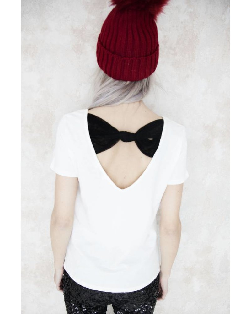 BOW IN THE BACK WHITE - T- SHIRT