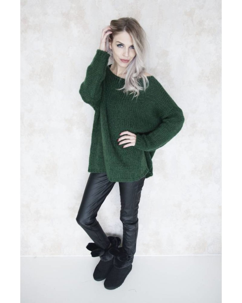 LONG KNITTED GREEN - SWEATER