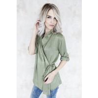LIV SATIN GREEN - BLOUSE