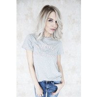 AMOUR GREY/PINK - T-SHIRT