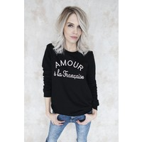AMOUR BLACK/PINK - SWEATER