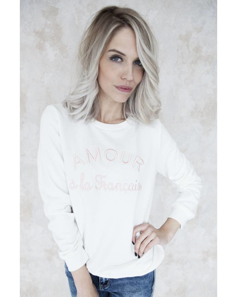 AMOUR WHITE/PINK - SWEATER