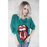 ROLLING STONES GREEN - SWEATER