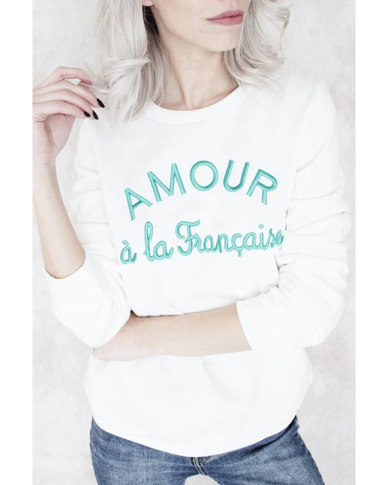 AMOUR WHITE/GREEN - SWEATER