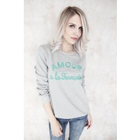 AMOUR GREY/GREEN - SWEATER
