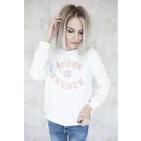 FRENCH AMOUR WHITE/PINK - SWEATER