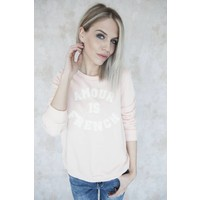 FRENCH AMOUR PINK/WHITE - SWEATER