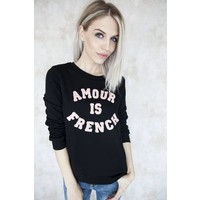 FRENCH AMOUR BLACK/PINK - SWEATER