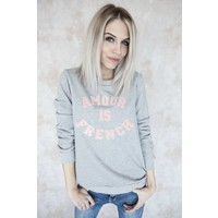 FRENCH AMOUR  GREY/PINK - SWEATER