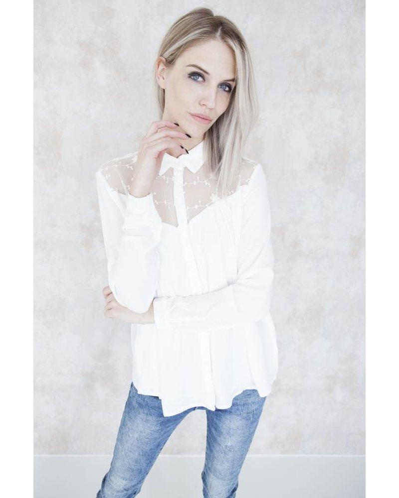 FLOWERED FRAN WHITE - BLOUSE