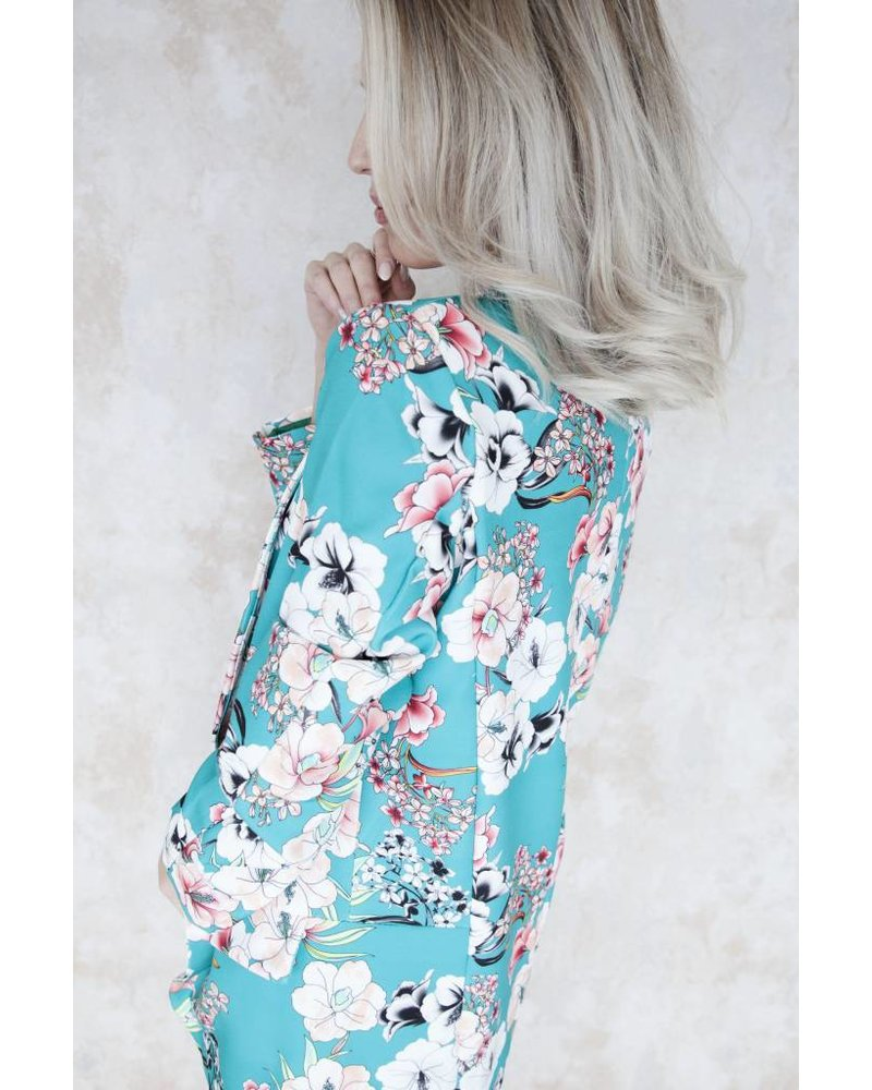 THE FLOWERED XL TURQUOISE - BLAZER