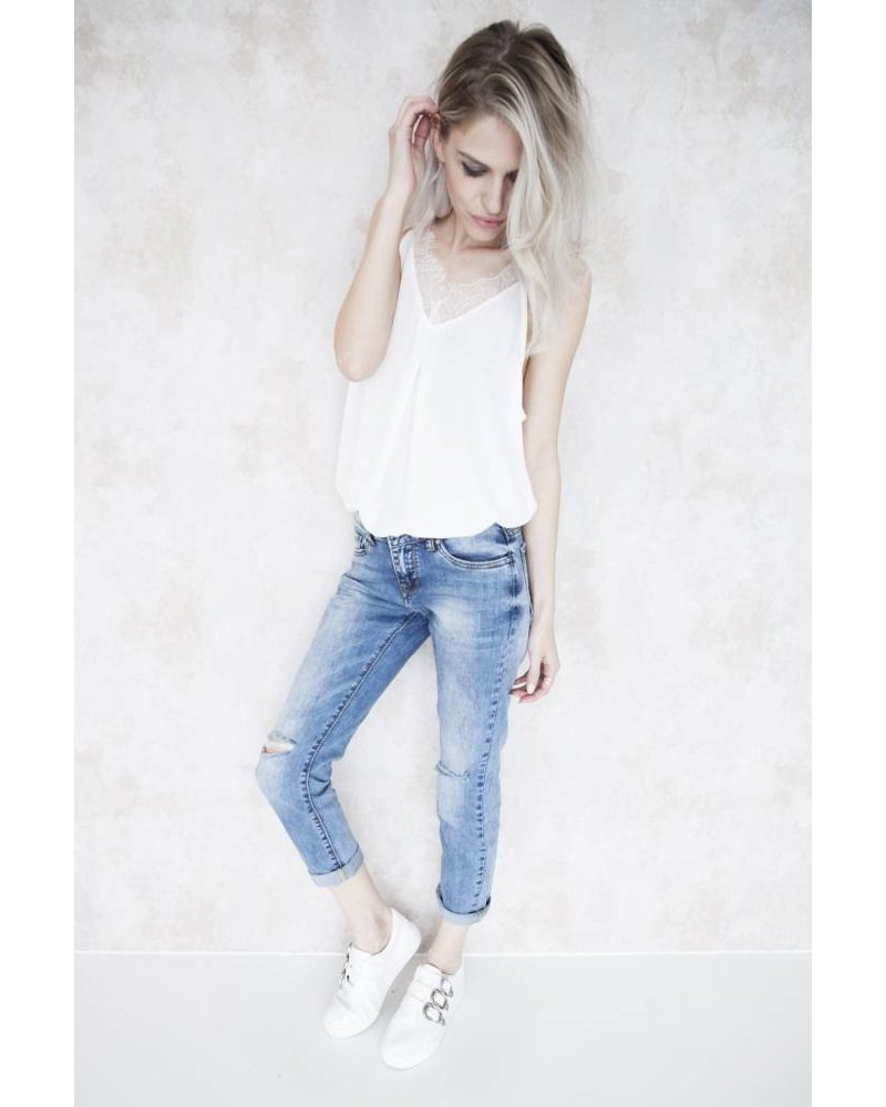 BASIC RIPPED BLUE - JEANS