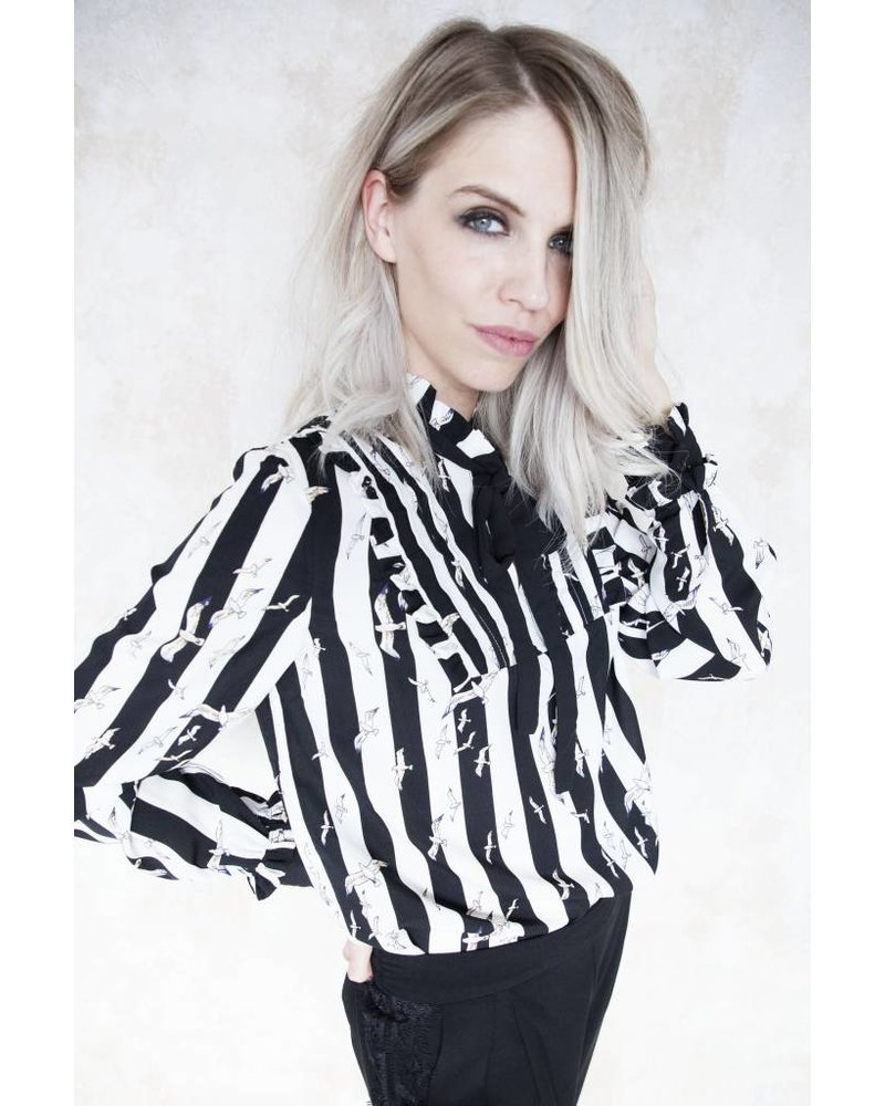 STRIPES AND BIRDS - BLOUSE