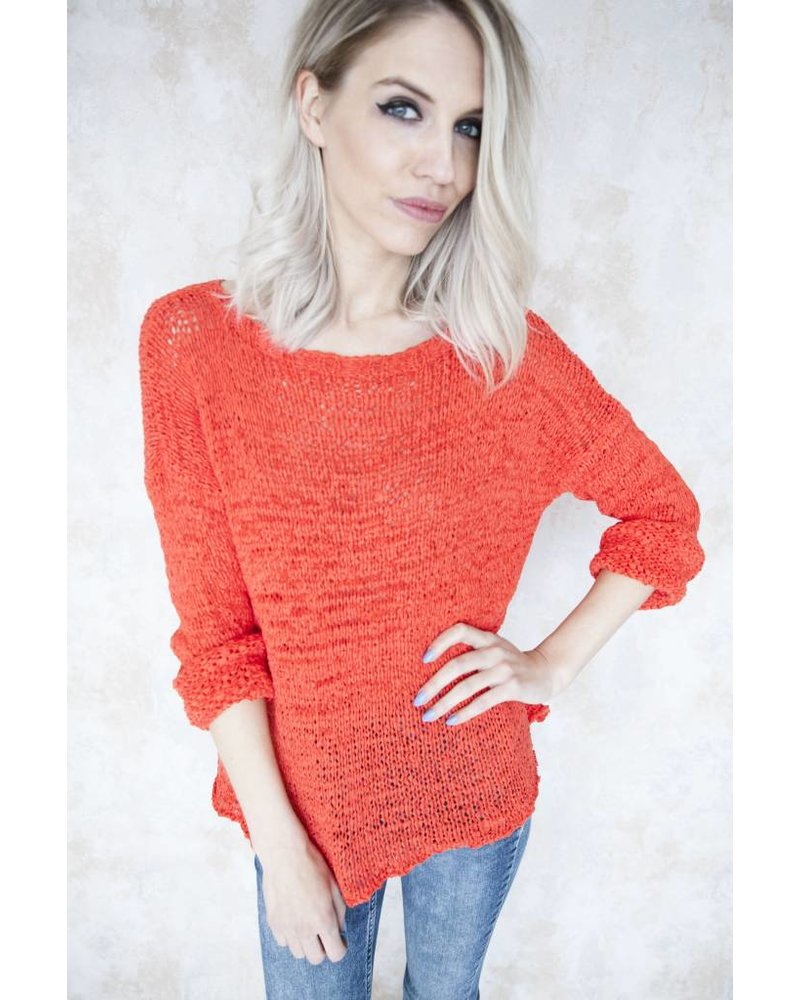 SUMMER KNIT SCOOP RED - TRUI