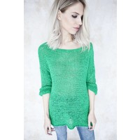 SUMMER KNIT SCOOP GREEN - TRUI
