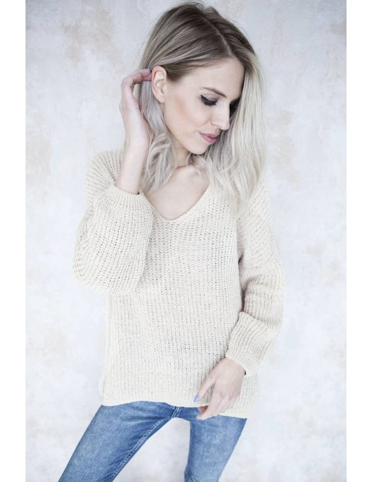 SUMMER KNIT V-NECK BEIGE