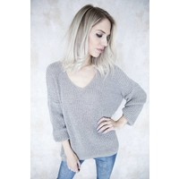 SUMMER KNIT V-NECK TAUPE - TRUI