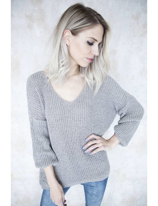 SUMMER KNIT V-NECK TAUPE