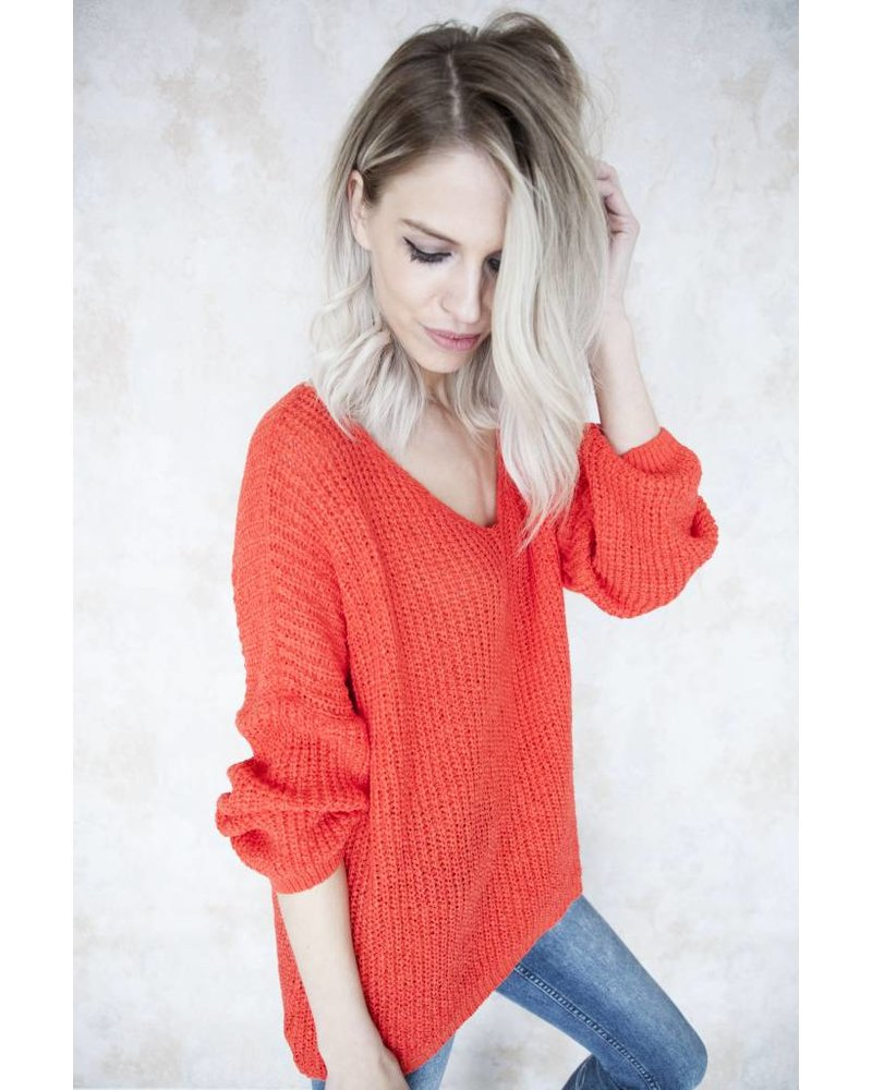 SUMMER KNIT V-NECK RED - TRUI