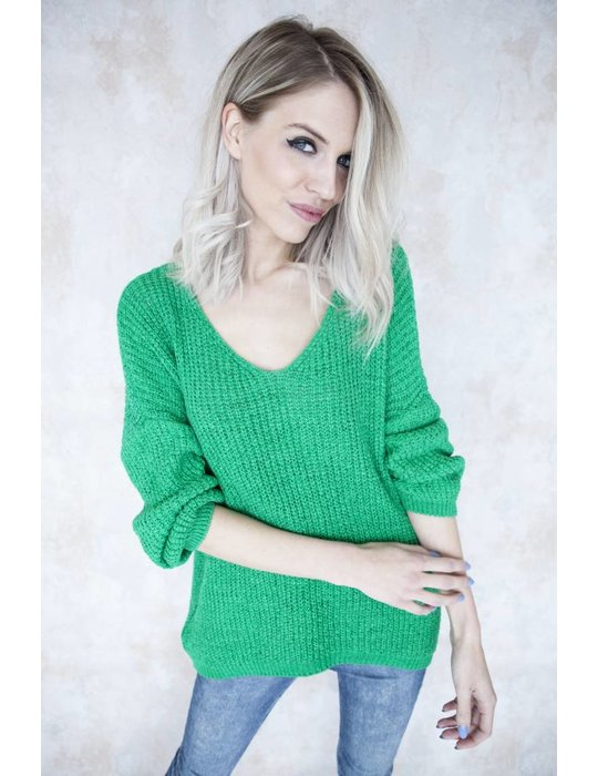 SUMMER KNIT V-NECK GREEN